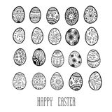 Set of decorative ornamental black and white easter eggs. Royalty Free Stock Photography