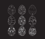 Set of decorative ornamental black and white easter eggs. Happy easter eggs and bunny for design holiday Stock Photos
