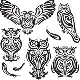 Set of decorative Owls. Set of five decorative black Owls Royalty Free Stock Photography