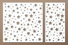 Set decorative panel laser cutting. wooden panel. Elegant modern geometric abstract holiday pattern. Stencil Ratio 1:2, 1:1 Vector Royalty Free Stock Photo