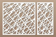 Set decorative panel laser cutting. wooden panel. Elegant modern geometric abstract pattern. Ratio 1:2, 1:1. Vector illustration.  Royalty Free Stock Photography