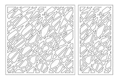 Set decorative panel laser cutting. wooden panel. Elegant modern geometric abstract pattern. Ratio 1:2, 1:1. Vector illustration.  Stock Photos