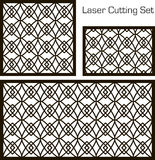 A set of decorative panels for laser cutting with a geometric pattern for cutting out paper, wood, metal. Stock Photo