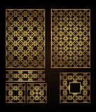 A set of decorative panels for laser cutting of wood. Pattern to create interior decorations, partitions, walls vector illustration