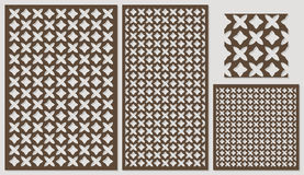 Set of decorative panels laser cutting. a wooden panel. Ethnic national repeating pattern of two figures. Stock Photo