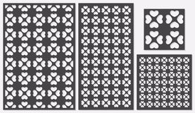 Set of decorative panels laser cutting. a wooden panel. Modern classic repeating heart pattern in square shapes. Royalty Free Stock Photography