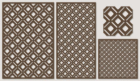 Set of decorative panels laser cutting. a wooden panel. Modern elegant classic diagonal square pattern allover. Royalty Free Stock Photography