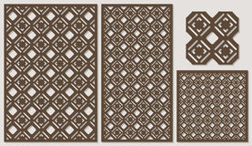 Set of decorative panels laser cutting. a wooden panel. Modern elegant classic square pattern allover. Stock Image