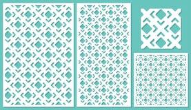 Set of decorative panels laser cutting. Stock Photo