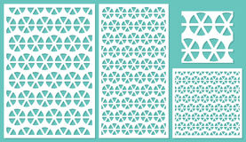 Set of decorative panels laser cutting. a wooden panel. Round geometric repeating pattern of shared lines. Royalty Free Stock Images