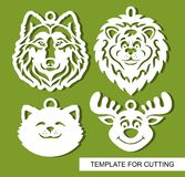 Set of decorative pendants with animals heads: wolf, lion, cat and deer. vector illustration