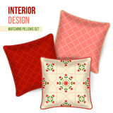 Set of decorative pillow. Set of three matching decorative pillows for interior design. Patterned throw pillow. Vector illustration Stock Images