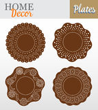 Set of 4 decorative plates for interior design -. Brown floral. Vector illustration Royalty Free Stock Photo