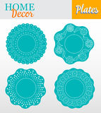 Set of 4 decorative plates for interior design -. Turquoise floral. Vector illustration Stock Image