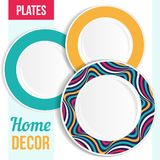 Set of decorative plates. Stock Images