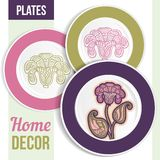 Set of decorative plates. Stock Photography