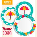 Set of decorative plates. Stock Image