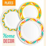 Set of decorative plates. Royalty Free Stock Photo