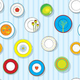 Set of decorative plates on the wall Stock Image