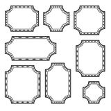 Set of decorative rectangular frames, black outline design. Vector vector illustration
