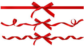 Set of decorative red bows with ribbons. Vector bow Stock Images
