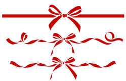 Set of decorative red bows with ribbons. Vector bow silhouette Stock Images