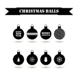 Set of decorative red Christmas balls. Vector flat design for holidays Happy New Year and Merry Christmas Stock Photography