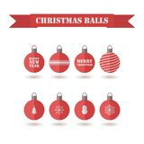 Set of decorative red Christmas balls. Vector flat design for holidays Happy New Year and Merry Christmas. Cute Different pattern, snowmen, fir-tree Royalty Free Stock Photo