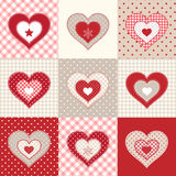 Set of decorative red hearts, illustration Stock Photo