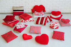 Set of decorative red pillows Stock Images