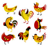 Set with decorative roosters. Isolated farm pets. Cartoon vector. Birds. Cute chicken characters in doodle style Royalty Free Stock Photography