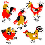 Set with decorative roosters. Isolated farm pets. Cartoon vector. Birds. Cute chicken characters in doodle style Stock Photo