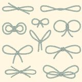 Set of decorative rope bows Royalty Free Stock Images