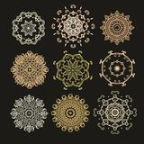 Set of  decorative rosettes-snowflakes in arabic style Royalty Free Stock Photography