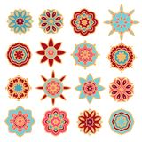 Set of decorative rosettes-snowflakes Stock Photo