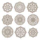 Set of decorative rosettes-snowflakes Royalty Free Stock Photo