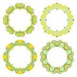 Set of decorative round frames Stock Photos