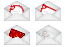 set of decorative Saint Valentine\'s envelopes Stock Photography