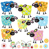 Set with decorative sheep Royalty Free Stock Images