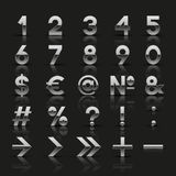 Set of decorative silver numbers and symbols Stock Photo