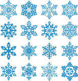Set of decorative snowflake silhouettes. Snowflake icon. New year decorations Stock Images