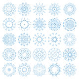 Set of decorative snowflakes, collection of blue winter design templates Royalty Free Stock Photo