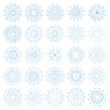 Set of decorative snowflakes, collection of blue winter design templates Royalty Free Stock Photos