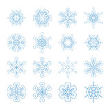 Set of decorative snowflakes, collection of winter design templates Stock Image