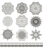 Set of decorative snowflakes-rosettes for christma Stock Images
