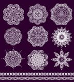 Set of decorative snowflakes-rosettes for christma Royalty Free Stock Photos