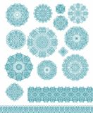 Set of decorative snowflakes-rosettes Stock Photo