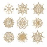 Set of decorative snowflakes-rosettes for christmas decoration Stock Photos