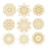 Set of decorative snowflakes-rosettes for christmas decoration Stock Image