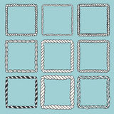 Set of 9 decorative square border frames. Royalty Free Stock Image